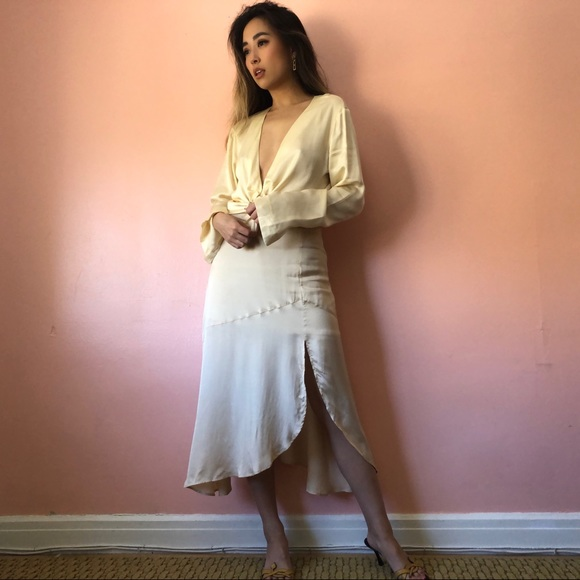 & Other Stories Ivory Midi Skirt